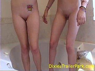 naked girl having pee